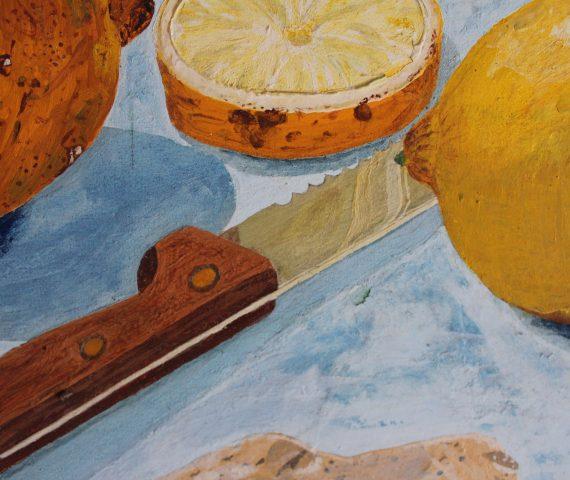 Zitronen mit Messer